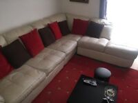URGENT!!!!Cream Genuine Leather Corner Sofa With Arm Chair and Footstool