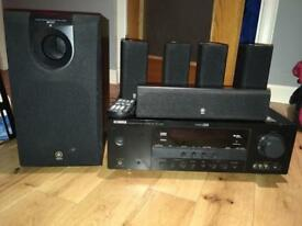 Yamaha rx-v363 home surround sound system. Comes with the receiver, five speakers and subwoofer