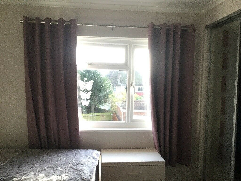 2x large purple blackout curtains with chrome curtain poll, in excellent condition!