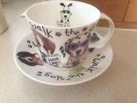 Roy Kirkham Walk the dog fine bone China tea cup and saucer