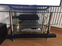 Glass and silver tv unit