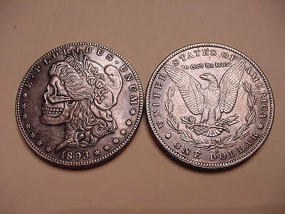 Hobo Style 1893 Morgan Dollar Eagle Back Silver Plated Toned Skull Coin -Vintage