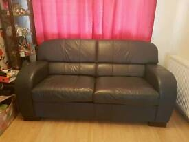 Navy leather sofa bed ex DFS