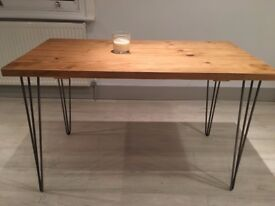 Industrial Handcrafted Dining table with hair pin legs