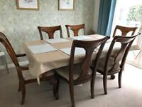Solid Birch Dining Table with 6 Chairs