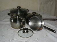 set of Marks &Spencer stainless steel pans