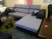 New Grey Fabric / Black Leather Corner Sofa Bed