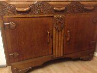 Curved Oak antique sideboard