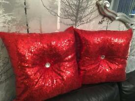 Christmas sequinned diamont'e cushions