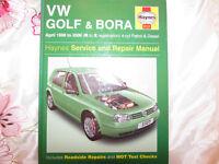 USED HAYNES WORKSHOP MANUAL V W GOLF AND BORA 1998-2000 4 CYL PETROL/DIESEL