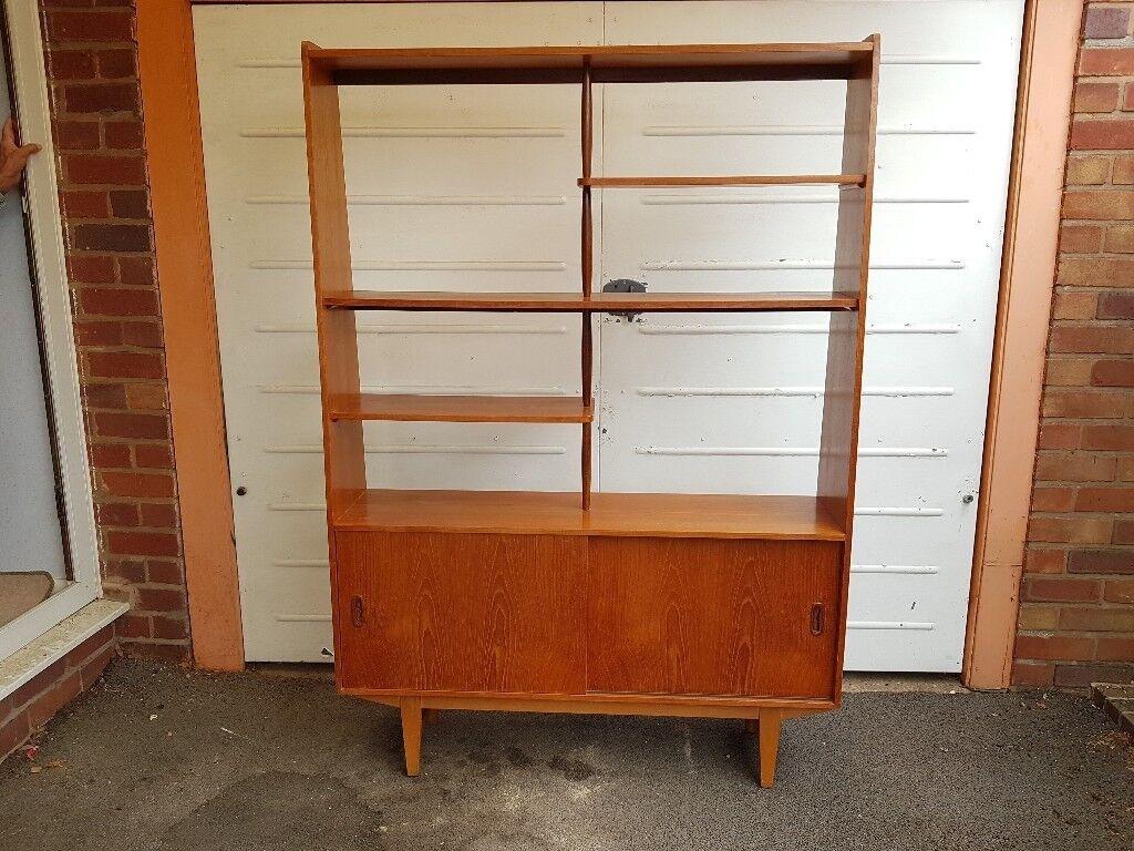 Vintage mid century danish design g plan room divider storage media display bookshelf cabinet vgc