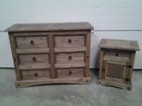 Ex display Excellent Large wooden chest drawers and one bedside. Bargain Can deliver.