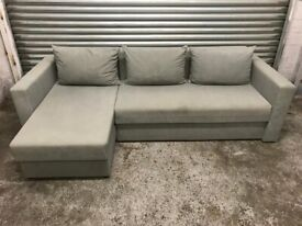 FREE DELIVERY LIGHT GREY FABRIC L-SHAPED CORNER SOFA BED GOOD CONDITION