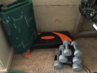 Fitness equipment including set weights, aerobic stepper and Yoga mat