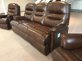 SHERBOURNE KESWICK ELECTRCI POWER RECLINER THREE PIECE SUITE BROWN LEATHER 3 SEATER SOFA 2 ARMCHAIRS