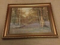 WOODLAND BLUEBELL PRINT WALL PAINTING, ORNATE GOLD FRAME, IDEAL UPCYCLE PROJECT