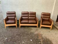 Down leather oak framed sofa armchair suite * free furniture delivery *