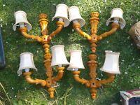 Four pine retro two bulb wall lights.