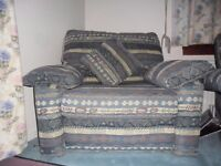 2x2 seater sofas, one armchair and one foot stool