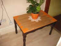 Super cool real wood table painted+ waxed (upcycled project)- size: L-84cm, W- 57.5cm, H-49.5cm.