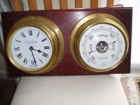 Solid Brass Clock and Barometer mounted on board.