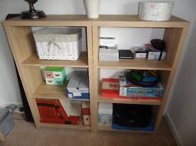 Two short oak veneer shelf units
