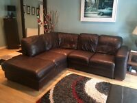 Violino Italian brown leather corner sofa ( L 226cm approx, B 206cm )