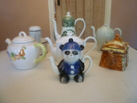 7 vintage teapots. Various designs (panda, midwinter, cottage, fruit etc). VGC £55