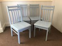 FOUR BABY BLUE PAINTED WOODEN DINING CHAIRS SHABBY CHIC