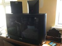 "television 28"" crt with additional speakers"