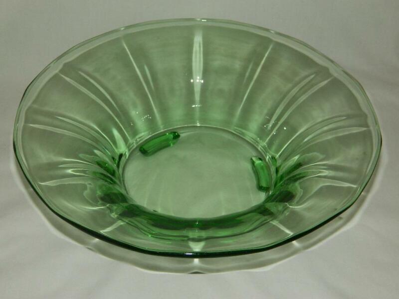 "Fostoria Fairfax Green Footed Console Bowl Depression Era Glass 11 1/2"""