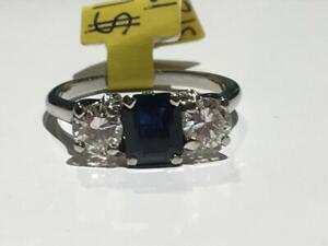 #165 18K WHITE GOLD LADIES RECTANGLE CUT SAPPHIRE & DIAMOND RING *SIZE 7* APPRAISED AT $5875, SELLING FOR ONLY $1550!