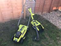 Ryobi Battery Lawn Mower and Strimmer