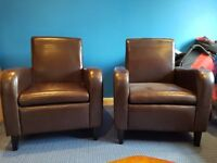 Brown Leather Armchair x2
