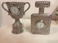 2 His & Hers trophy table clocks
