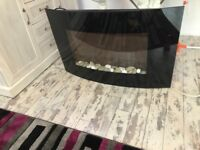 BLACK GLOSS WALL HANGING ELECTRIC FIRE WITH EXTRA PEBBLES