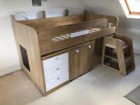 Children's bed desk midsleeper bunk bed