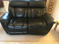 Black leather recliner 3 piece suite