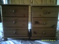 PINE BEDSIDE DRAWER UNITS X 2 (PAIR)