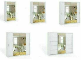 🔴AMAZING OFFER🔵BONITO SLIDING MIRROR DOORS WARDROBE IN 180cm SIZE & WHITE COLOR