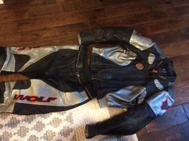 WOLF BIKE LEATHERS JACKET AND TROUSER