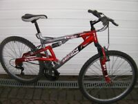 "Gents Front and Rear suspension mountain Bike, 26"" Alloy wheels, 18"" Lightweight Frame, 21 Gears."