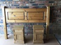 Handmade Solid Pine Headboard & Bedside Cabinets