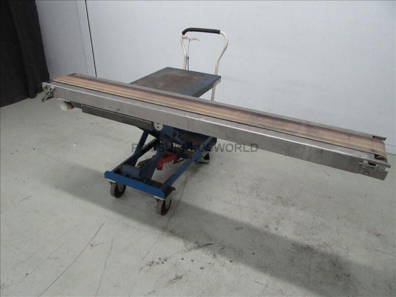"Stainless Steel Flat Belt Conveyor 6.25"" X 77"" Motor 0.25Kw 180 VDC ( Tested )"