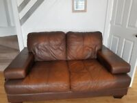 DFS Brown Leather corner sofa, 2 seater sofa and single armchair