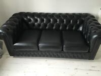 Chesterfield sofa black leather