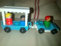 Vintage Fisher Price play family little people toy Zoo safari Jeep tram and trailer with 3 people