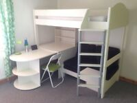 White Stompa Casa 4 High Sleeper bed with black cushions in great condition