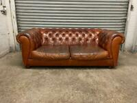 FREE DELIVERY REAL LEATHER TAN BROWN SHABBY CHIC CHESTERFIELD 3 SEATER SOFA