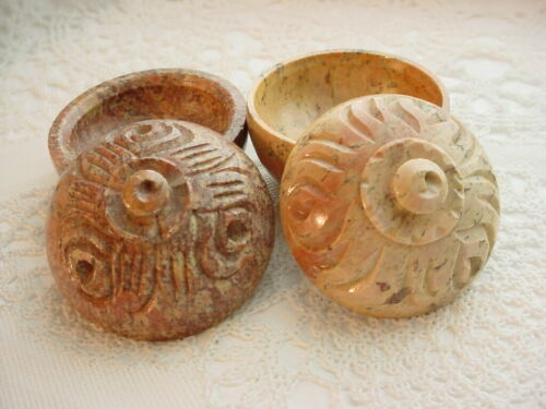 Vtg Carved Stone Trinket Boxes 2 With Lids